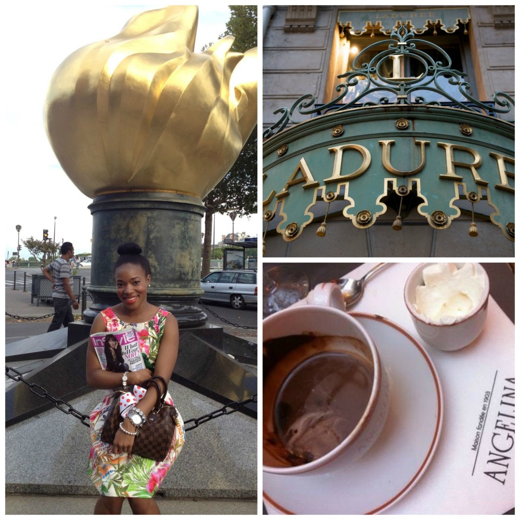 my daughter, Channing at the Lady Di Memorial, Ladurée, home of luxury sweets and inventor of the double-decker macrons and Angélina tea salon.