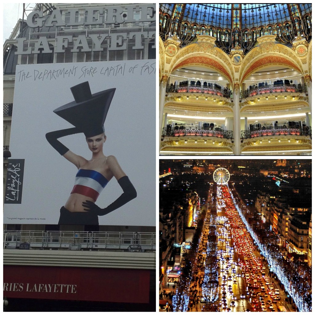 Galeries Lafayette, upmarket French department store on Boulevard Haussmann. Beautiful glass and steel dome and Art Nouveau staircases.  Nighttime on Champs-Élysées, one of the world's most famous boulevards