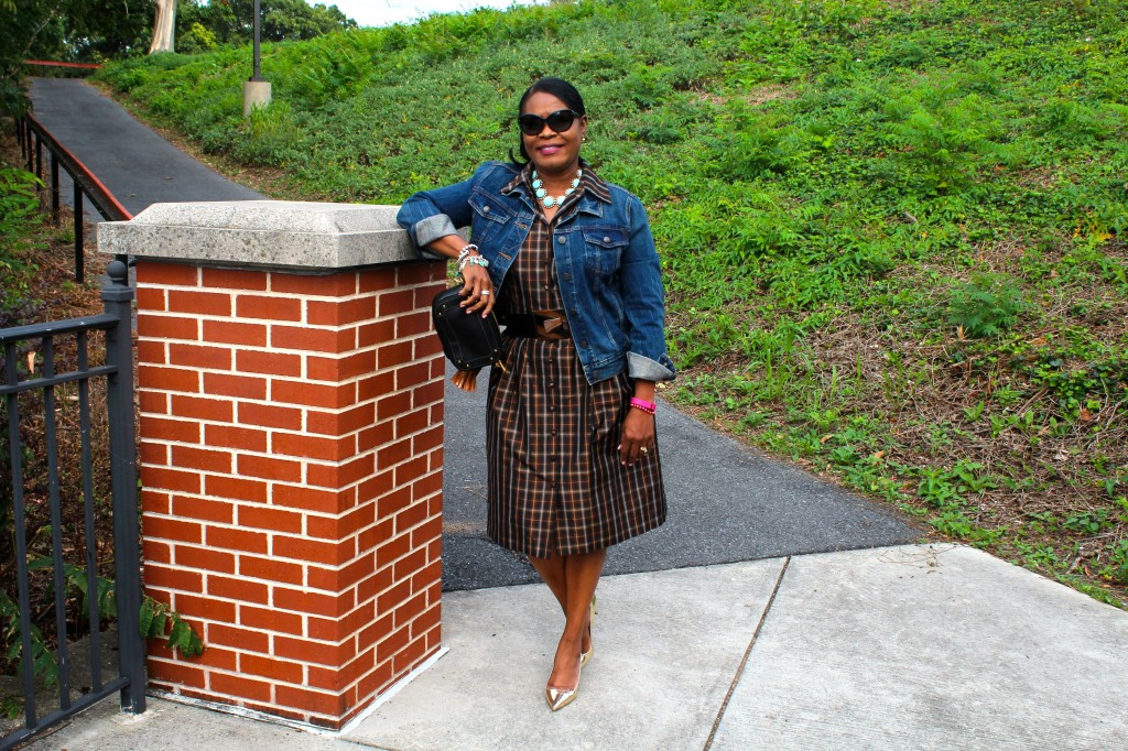 Wearing old Carmen Marc Valvo Taffeta plaid dress with Suzi Roher belt, J.Crew vintage denim jacket, J. Crew blue necklace, Mui Mui gold metallic pumps, my collection of Tiffany charm bracelet, Tiffany bead bracelet, David Yurman bracelet and my ever present FitBit Band.