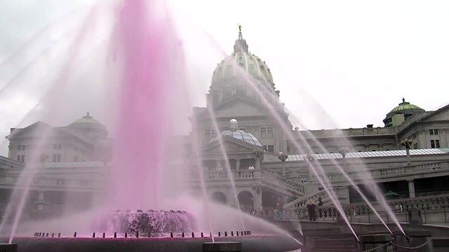 Fountain at State Capital Complex in Harrisburg, Breast Cancer Awareness