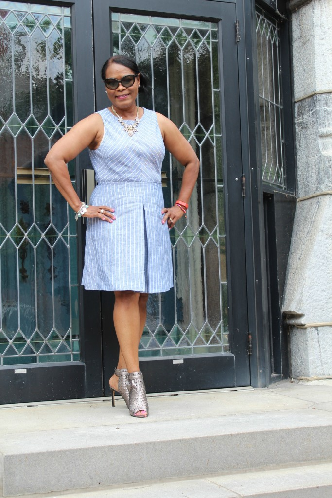 Wearing:  J. Crew chevron striped fit and flare dress with J. Crew Factory crystal statement necklace and Vince Camuto Karsten perforated  metallic sandal.