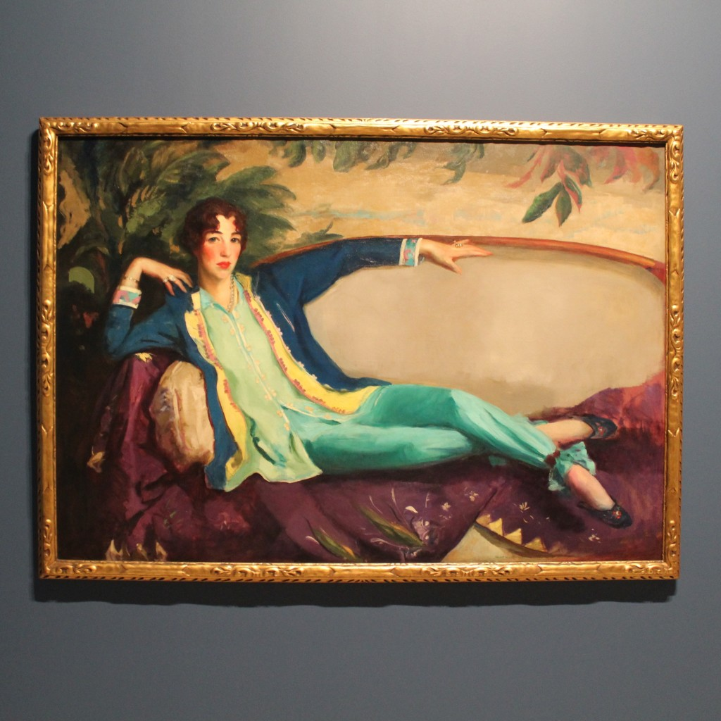 This portrait of Gertrude Vanderbilt Whitney is featured in the first-floor gallery devoted to Gertrude in the Whitney Museum. Whitney commissioned this portrait in 1916 from Robert Henri, leader of the urban realist painters.
