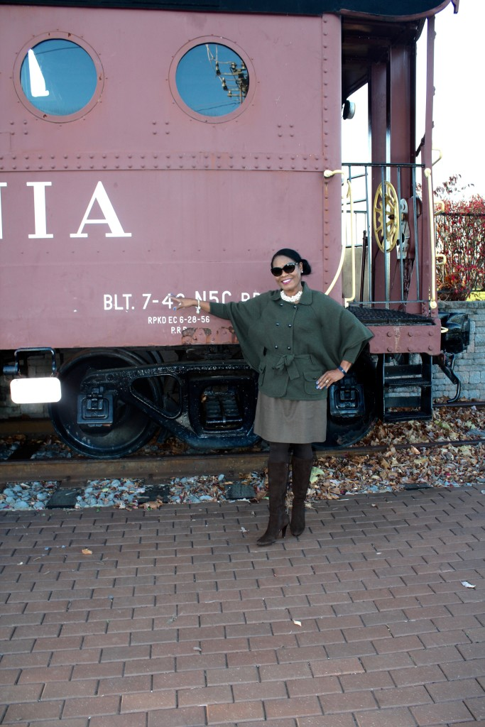 Wearing: DVF wool cape sweater, J.Crew Factory dress, Cole Haan brown suede boots with J. Crew Factory pearl necklace.