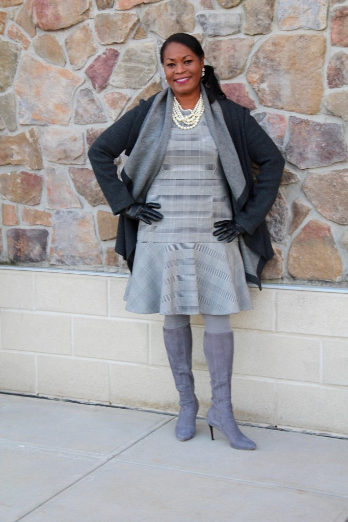 Wearing: Lafayette 148 NY double-faced wool jacket, J. Crew fit and flare glen plaid dress, Cole Haan Bernard StormCloud Suede boots with Portolano black leather gloves from Gilt.