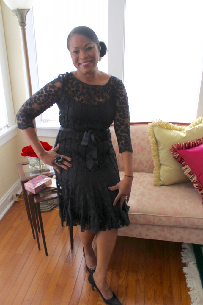 Wearing: Teri Jon Black lace cocktail dress and Stuart Weitzman evening pumps