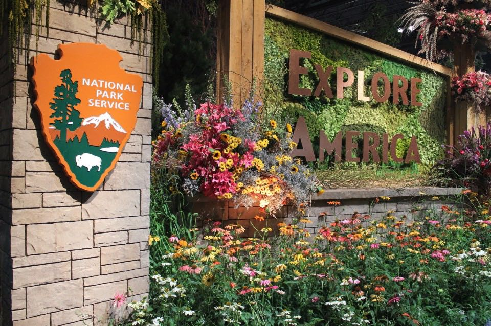 "The 2016 Philadelphia Flower Show, ""Explore America,"" 100 years of the National Park Service."