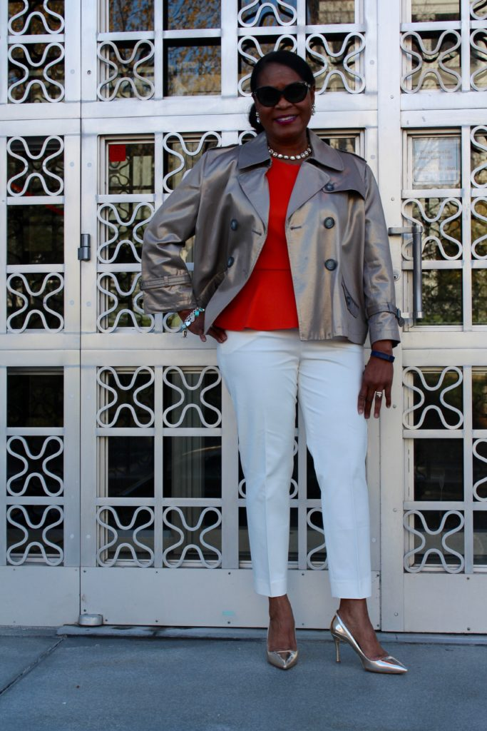 Wearing metallic trench jacket, orange peplum, J. Crew Martie pant in white, Mui Mui metallic gold pump