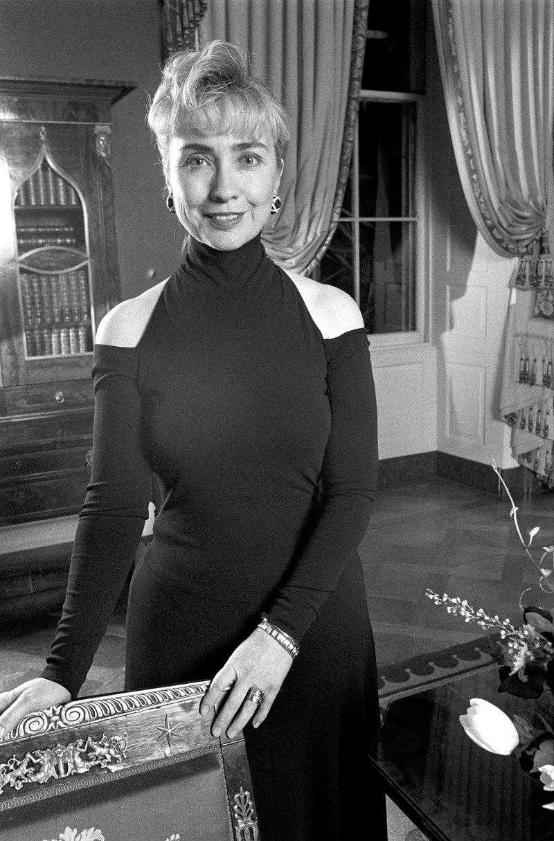 Hillary Clinton wearing 1992 cutout shoulder design by Donna Karan to her first state dinner as First Lady.