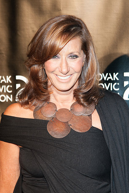 Donna Karan wearing another shoulder-barring dress.