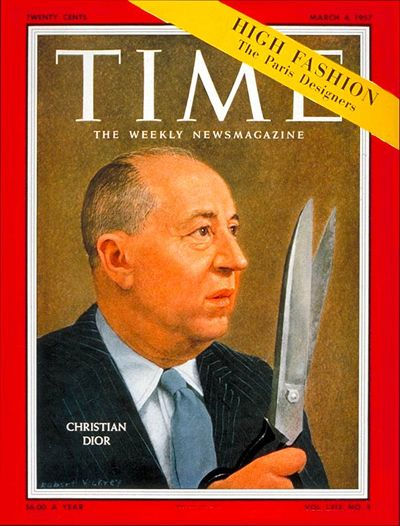 Yes, Mr. Dior. A few months after his death, Christian Dior is the first couturier to make the cover of the prestigious American Time.