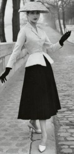 "Yes, Mr. Dior. S/S 1947 'Bar"" by Christian Dior. The signature ensemble of the first collection - Christian Dior's line shown in February 1947."