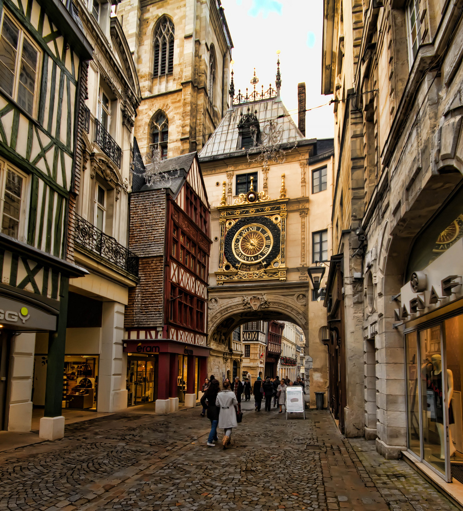 "My Paris Trip, ""'S Marvelous."" The Great-Clock (Gros-Horloge) is a fourteenth-century astronomical clock in Rouen, Normandy, France."