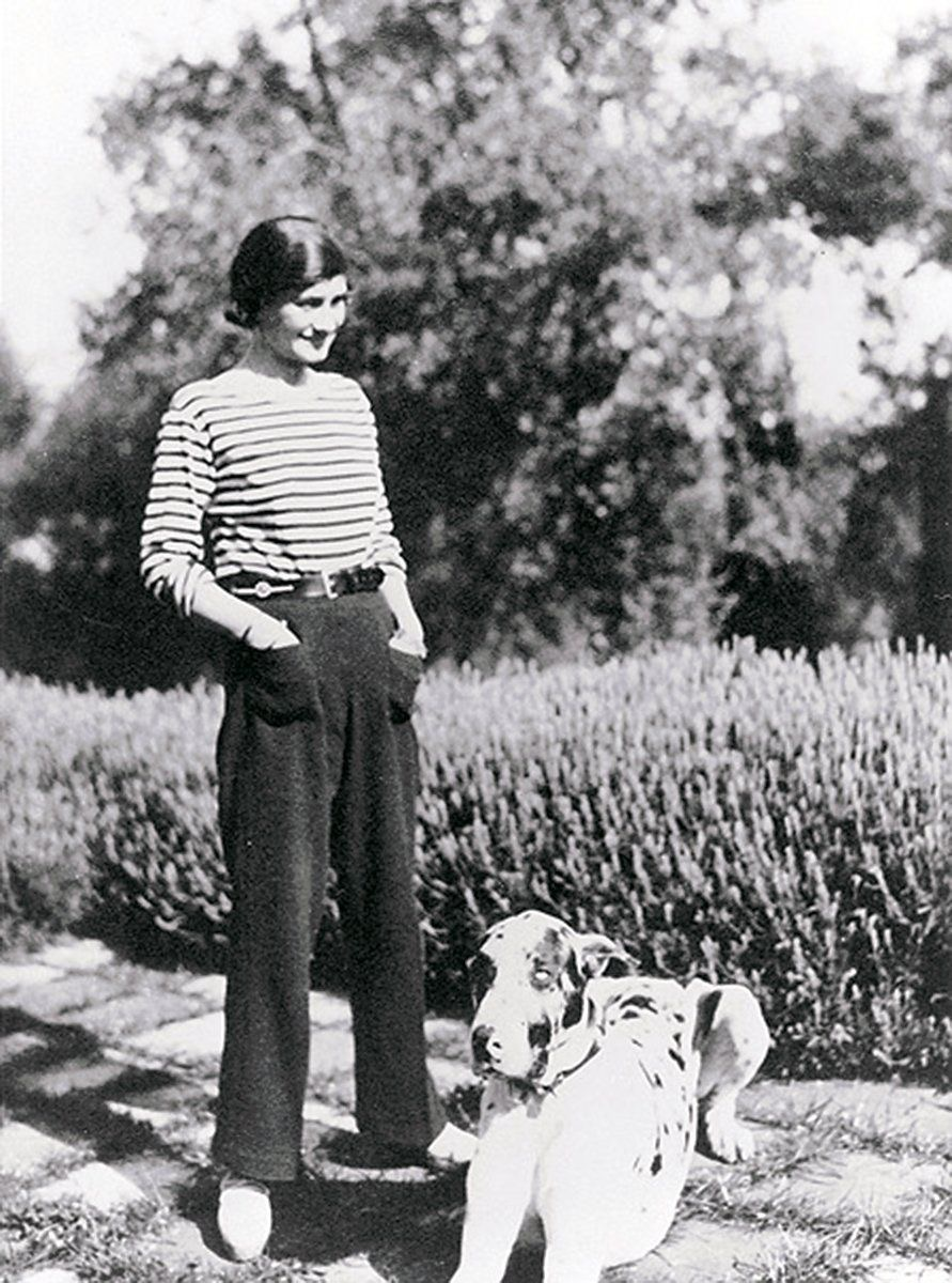 Breton Stripe is Synonymous With Parisian Chic. Mademoiselle Coco Chanel wearing the Breton stripe top.