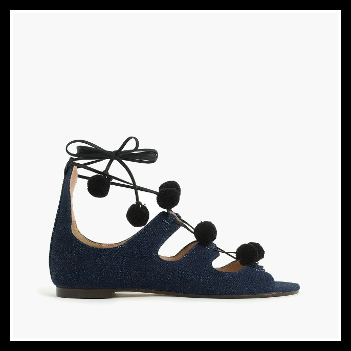 Denim Pom Pom Sandals